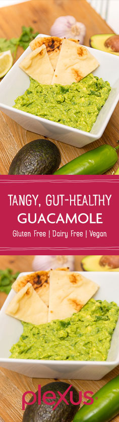 No party is complete without a bowl of guacamole—the bigger, the better. In this recipe, we throw out artificial additives and replace them with gut-healthy sauerkraut.