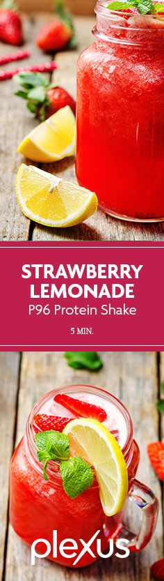 "When life gives you lemons…make this Plexus 96® Strawberry Lemonade Protein Shake. STAT. This cold treat is ""freshly squeezed"" with 15 grams of high-quality whey protein to give you the fresh power-up you need.* Thanks to the sweet strawberries combined with the lemons, this smoothie is a flavor-punch and refreshingly perfect for those long days in the sun. #ProTip: Pour this drink into popsicle molds and freeze for a few hours to make a delicious frozen treat!"